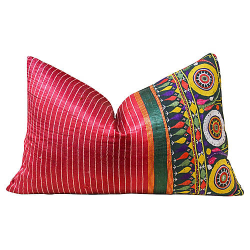 Bhati Antique Mashru Lumbar Pillow