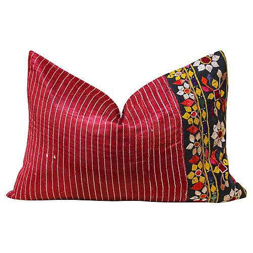 Hena Antique Mashru Lumbar Pillow