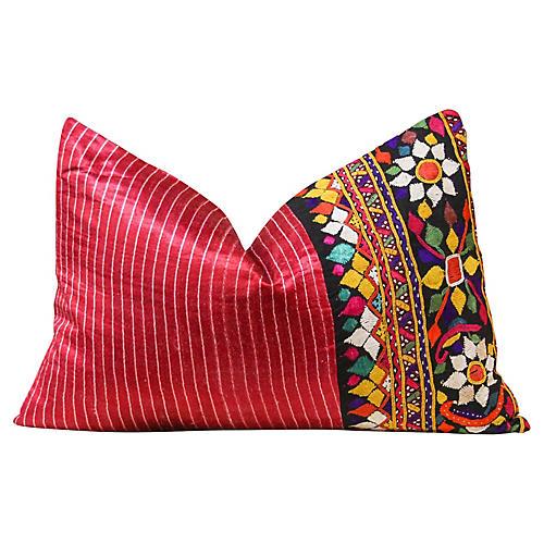 Lily Antique Mashru Lumbar Pillow