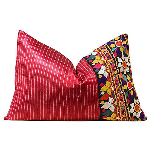Floral Antique Mashru Lumbar Pillow