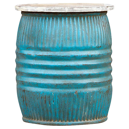 Turquoise Blue Drum Side Table