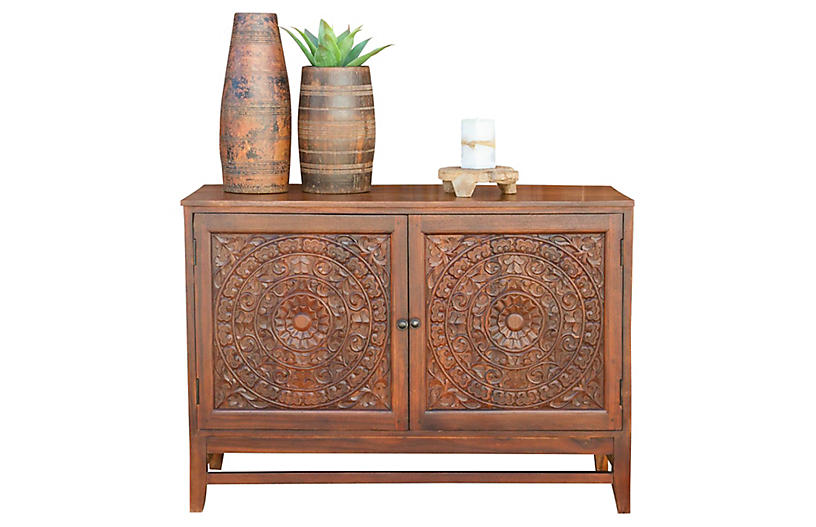 Mandala Lotus Carved Cabinet