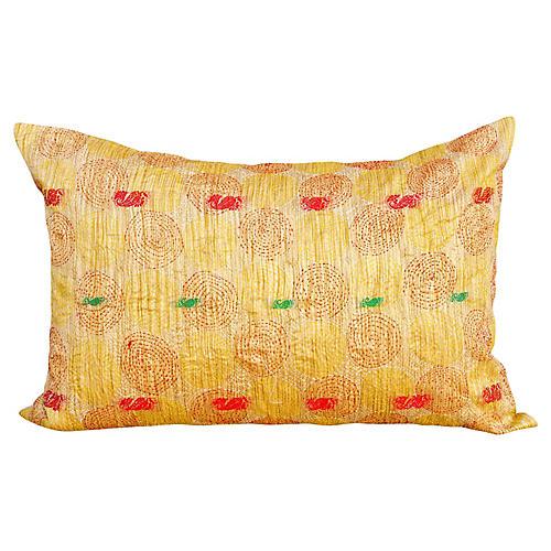 Gold Chakra Kantha Silk Pillow