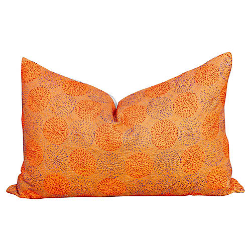 Clementine Chakra Kantha Silk Pillow