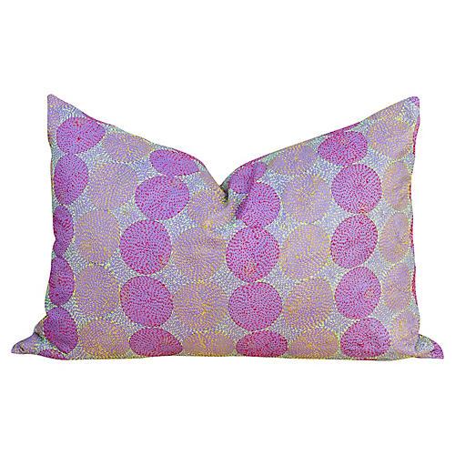 Lilac Chakra Kantha Silk Pillow