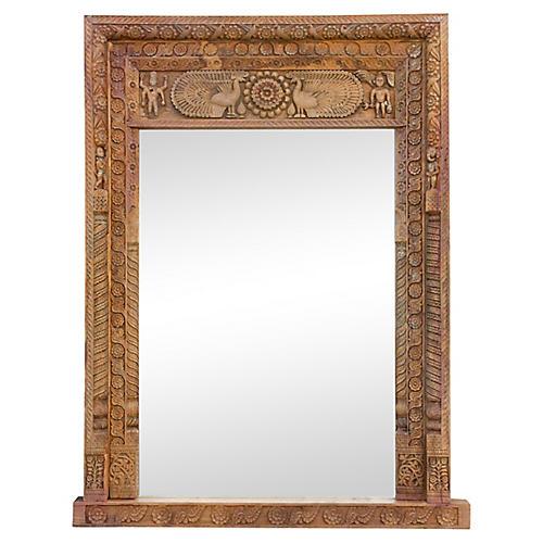 18th C. Mora Carved Floor Mirror