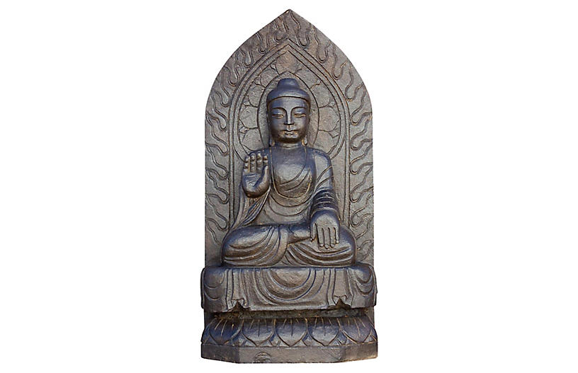 Antique Black Stone Buddha Statue
