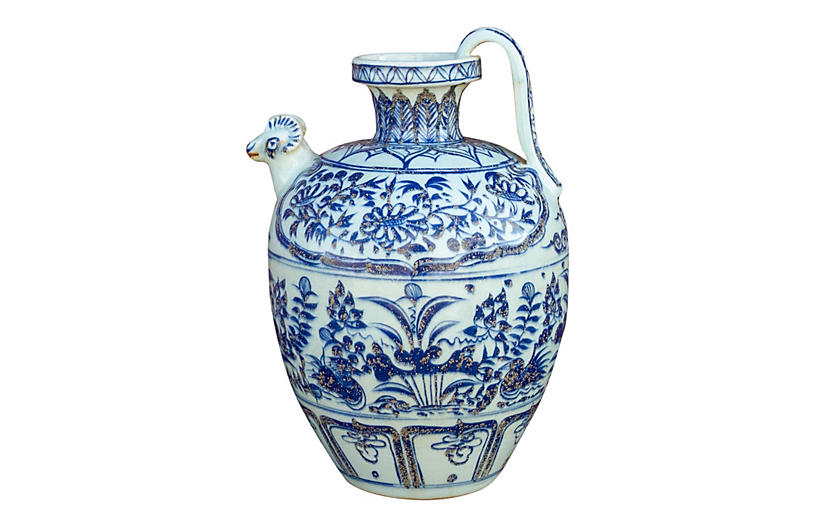 Antique Chinese Blue and White Pitcher