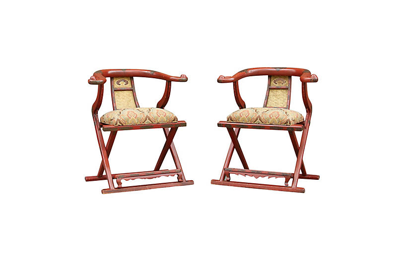 Pair of Antique Emperor Horseshoe Chairs
