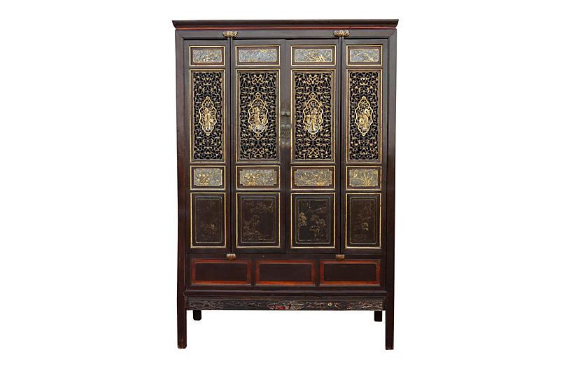 Black & Gilt Carved Chinese Armoire