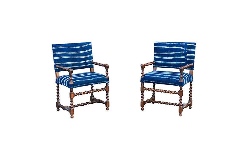 Antique French Oak Indigo Chairs, Pair