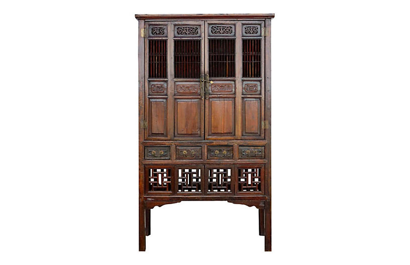 Antique Chinese Farmhouse Lattice Armoir