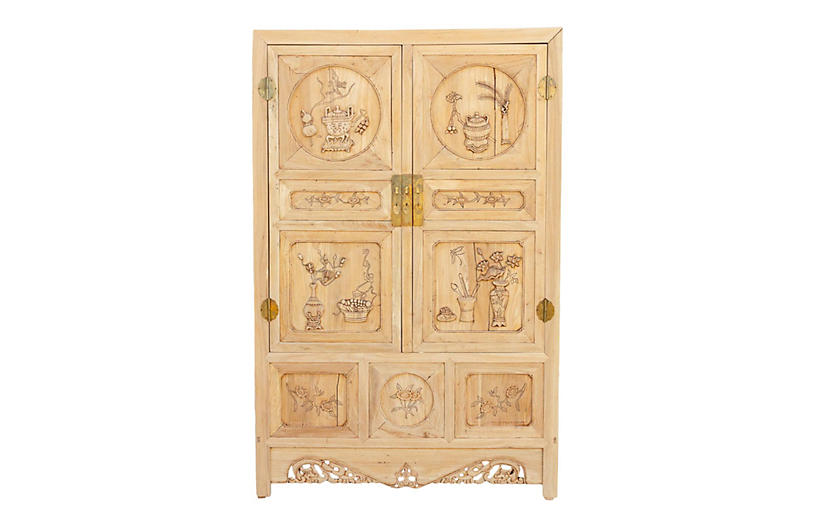 Antique Stripped Elm Asian Cabinet