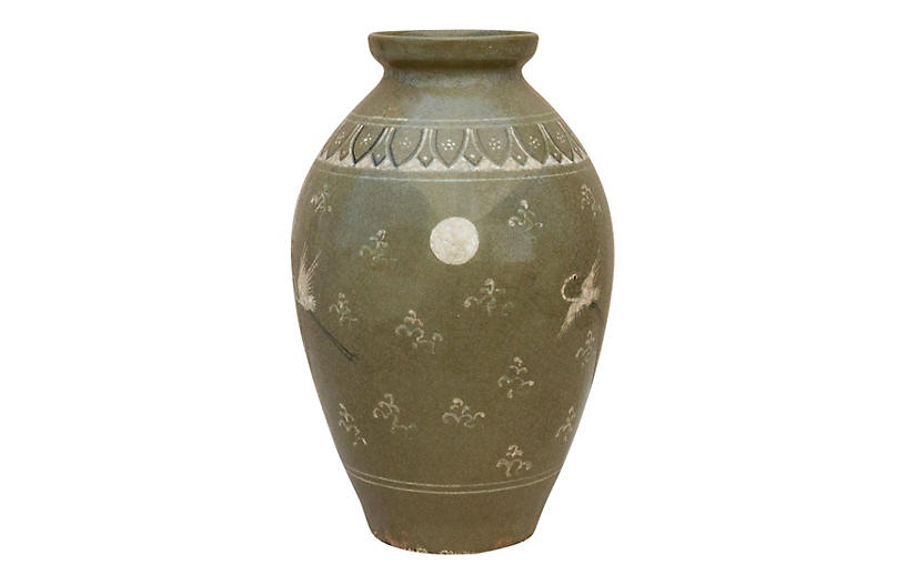Korean Celadon Crane Glazed Vase