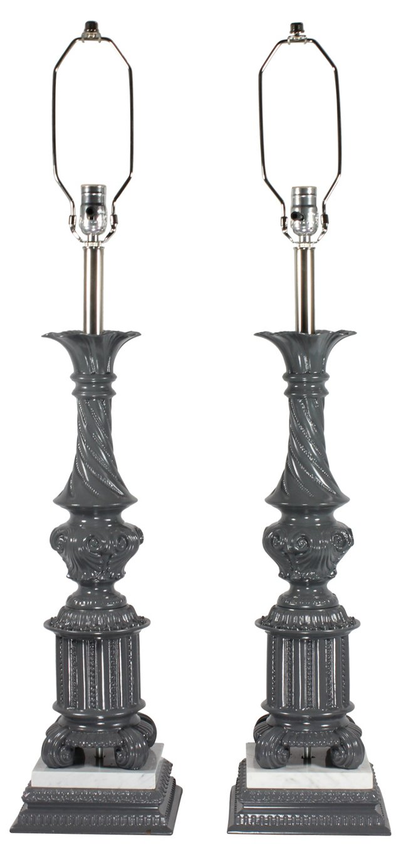 Gray & Marble Pedestal Lamps, Pair