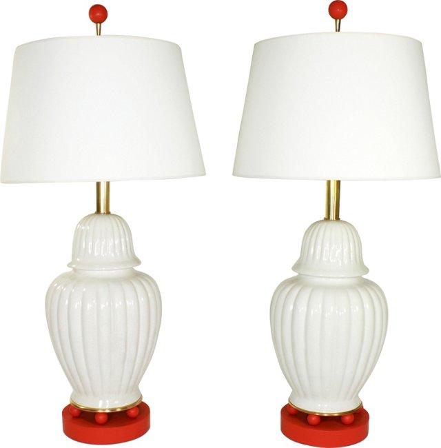 Ginger Jar Lamp Bases, Pair
