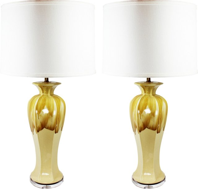 Tall Caramel Drip Glaze Lamp Bases, Pair
