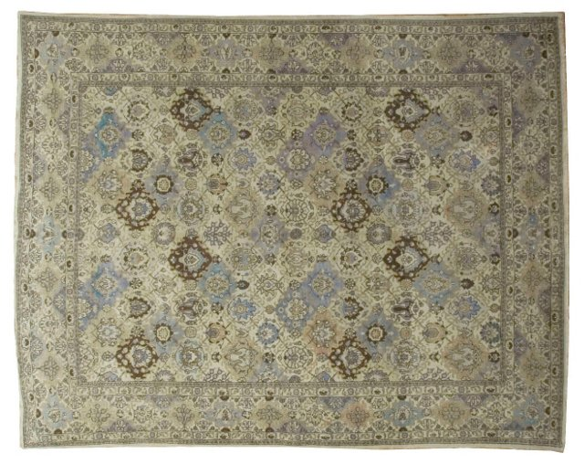 """1920s Hand Knotted Tabriz, 9'10"""" x12'10"""""""