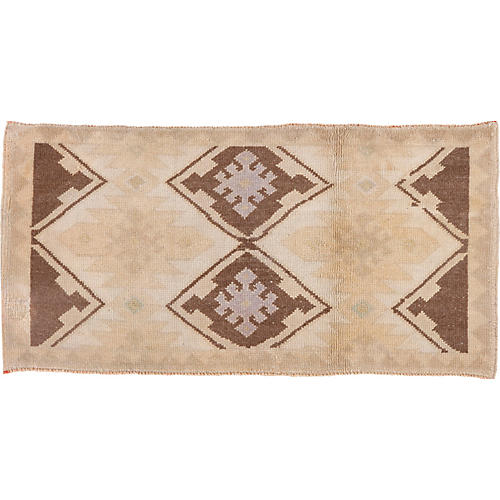 """Oushak Hand-Knotted Rug, 1'11"""" x 3'11"""""""