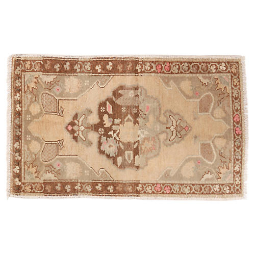"Turkish Oushak Rug, 1'11"" x 3'"