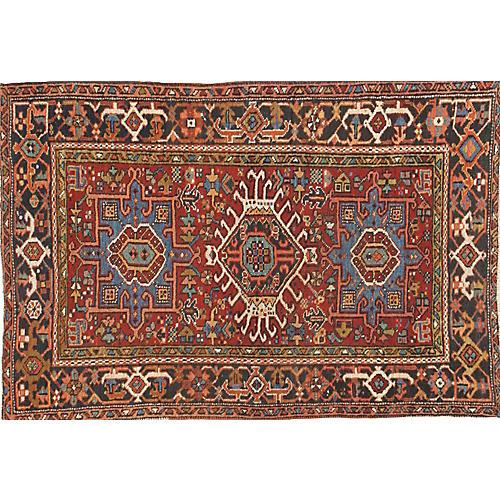 """Antique Persian Heriz Rug, 3'2"""" x 4'9"""""""