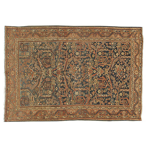 "Distressed Mahal Rug, 4'6"" x 6'7"""