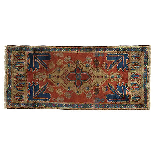 """Hand-Knotted Yastik Rug, 1'10"""" × 4'"""
