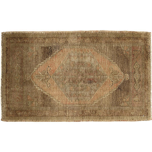 """Hand-Knotted Yastik Rug, 1'10"""" x 3'1"""""""