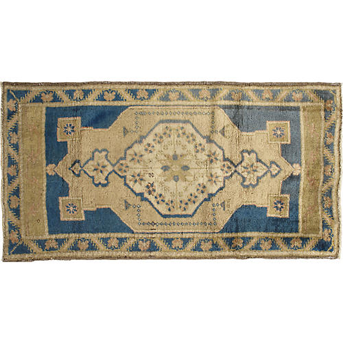 """Hand-Knotted Yastik Rug, 1'11"""" x 3'6"""""""