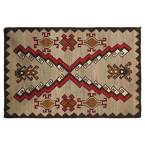 "Navajo-Style Flat-Weave Rug, 4' x 6'2"""