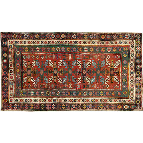 "Antique Kazak Rug, 4'2"" x 7'4"""