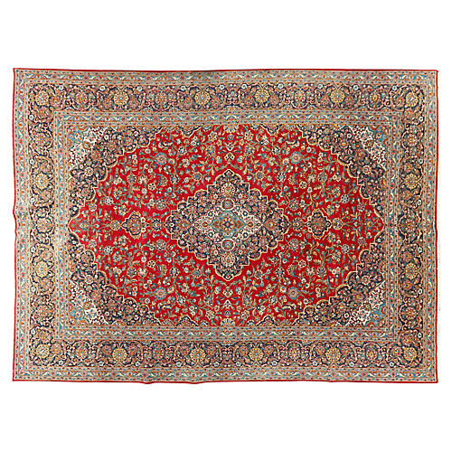 "Persian Kashan Carpet, 10'4"" x 14'5"""