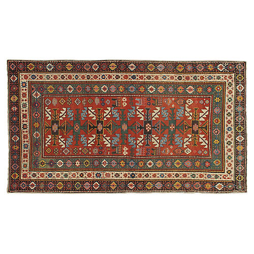 "Antique Kazak Rug, 4'2"" x 7'4"""