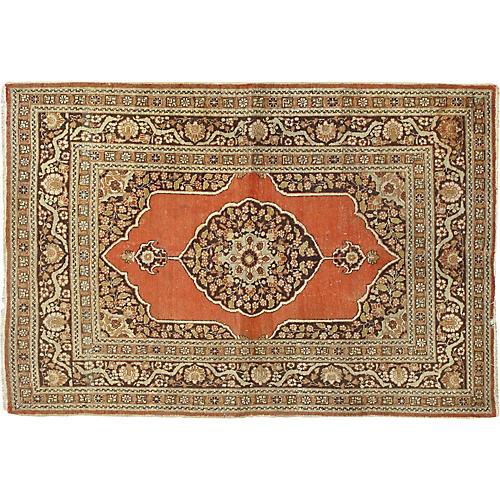 "Antique Tabriz Rug, 4'2"" x 5'11"""