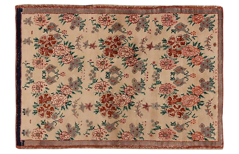 Turkish Oushak Rug, 2'9 x 3'11