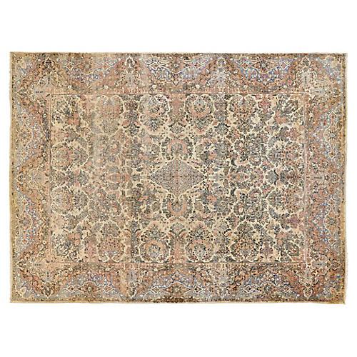 """Persian Kerman Carpet, 9' x 12'5"""""""