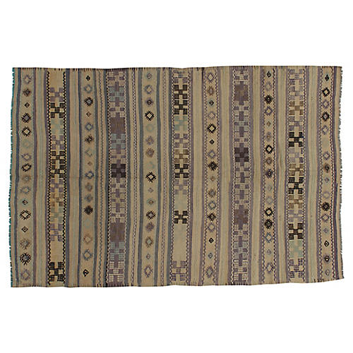 Turkish Jajim Kilim Rug, 5'1 x 7'8