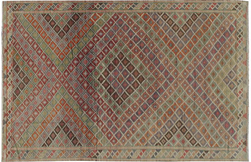 Turkish Jajim Flat Weave Rug 6'10 x 10'5