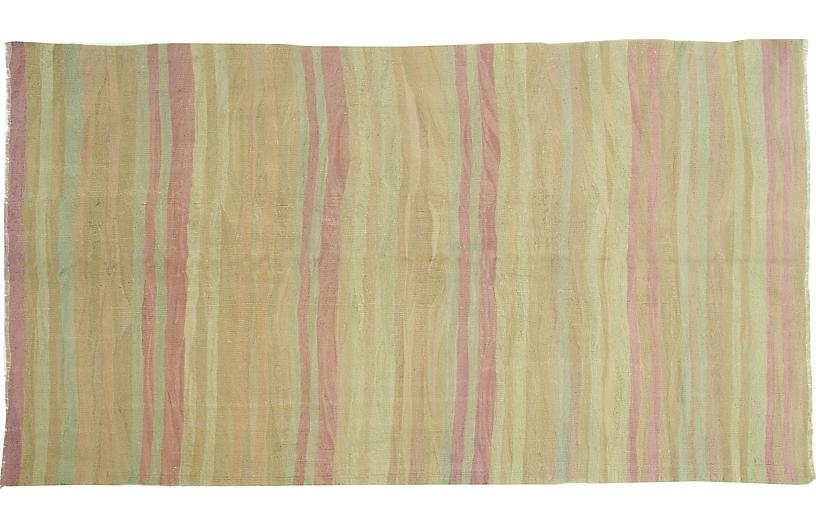 Turkish Tan Flatweave Kilim Rug, 5'6 x 9