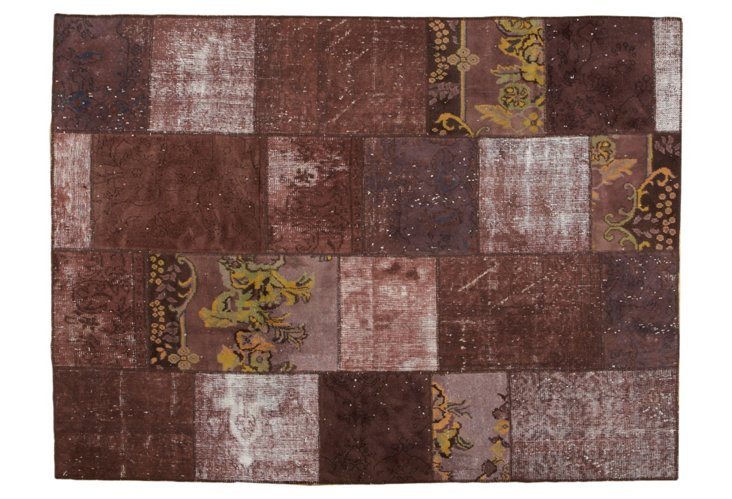 Overdyed Patchwork Rug, 5'8 x 7'8