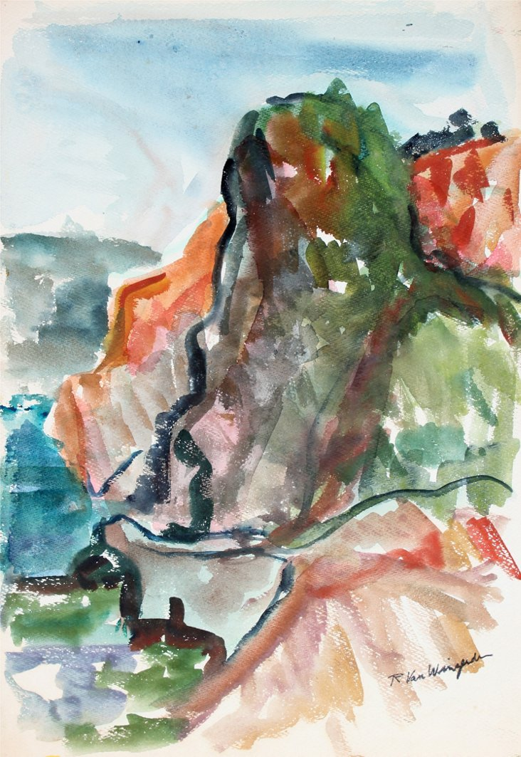 Cliff Watercolor, C. 1950