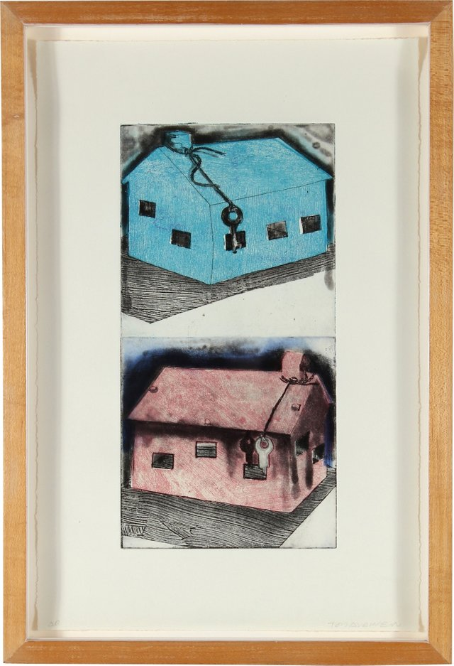 Blue & Red House Etching