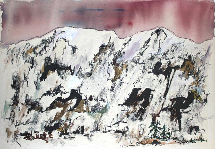 1950s-60s Snowy Mountains w/ Red Sky