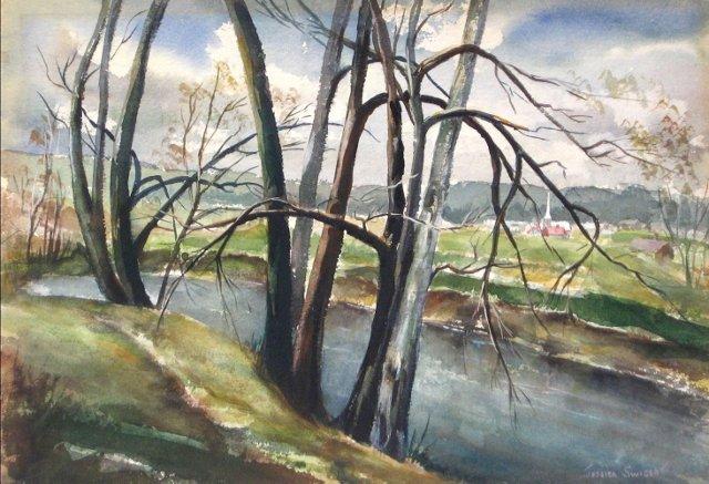 American River & Village Scene, 1957