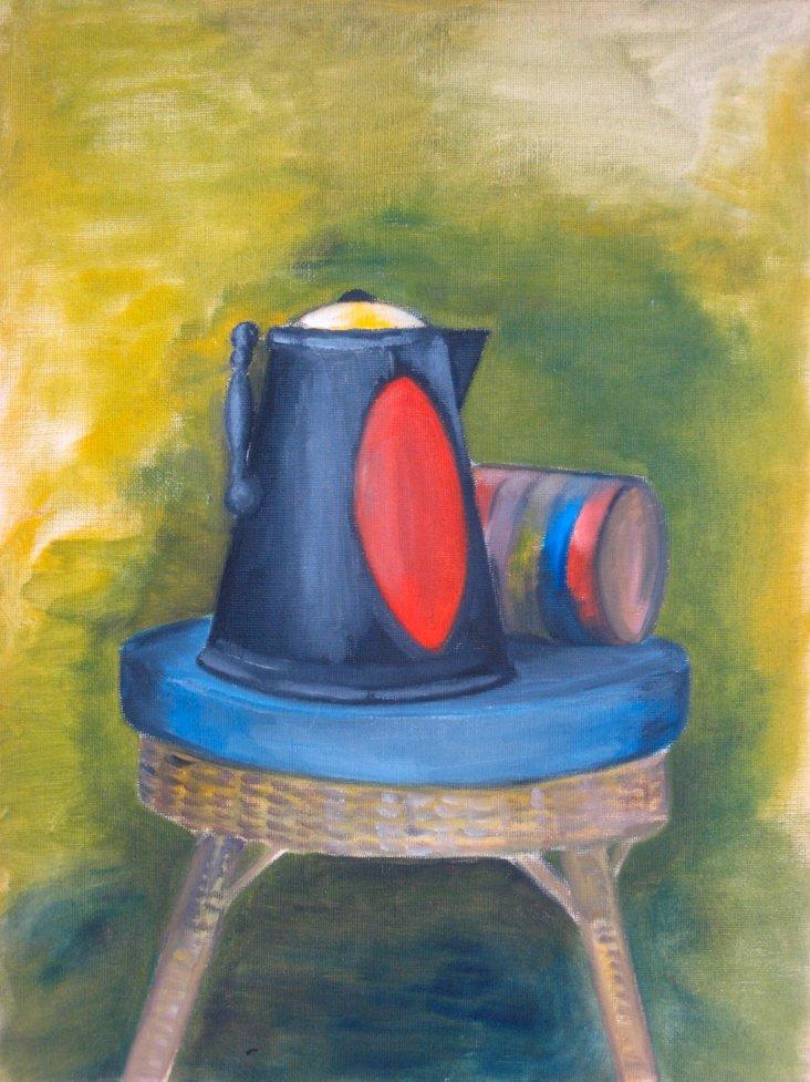 20th-C. Teapot & Stool Still Life