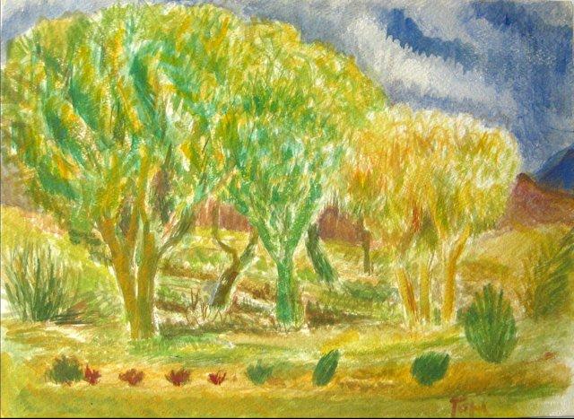Spring Landscape Watercolor by Tofel