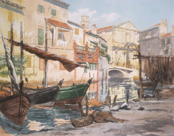Boats on Canal by Bastogy