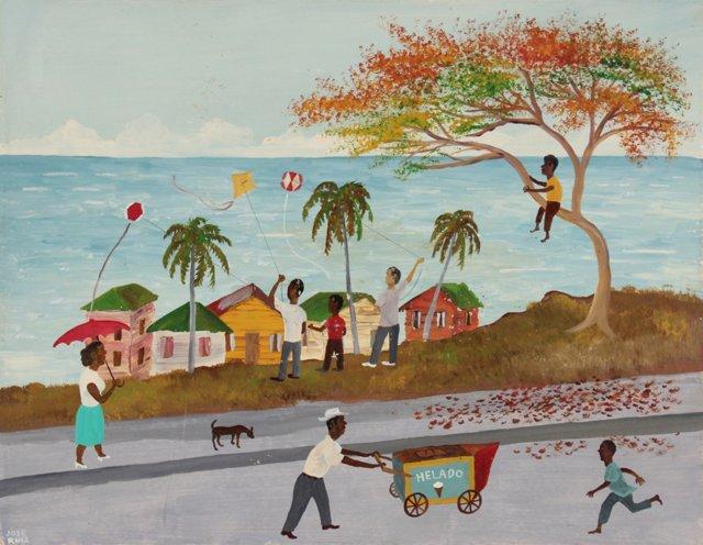 Flying Kites Folk Art by Jose Ruiz