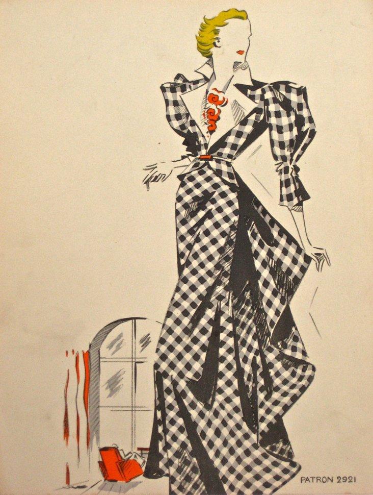Midcentury French Fashion Illustration