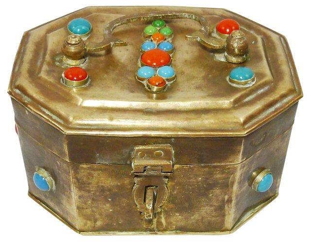 Bejeweled Brass Box